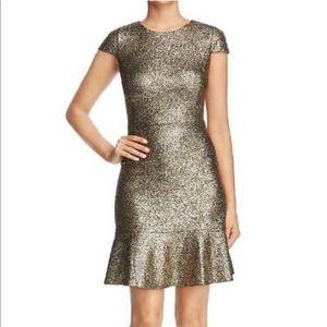 Michael Kors black and gold cocktail dress